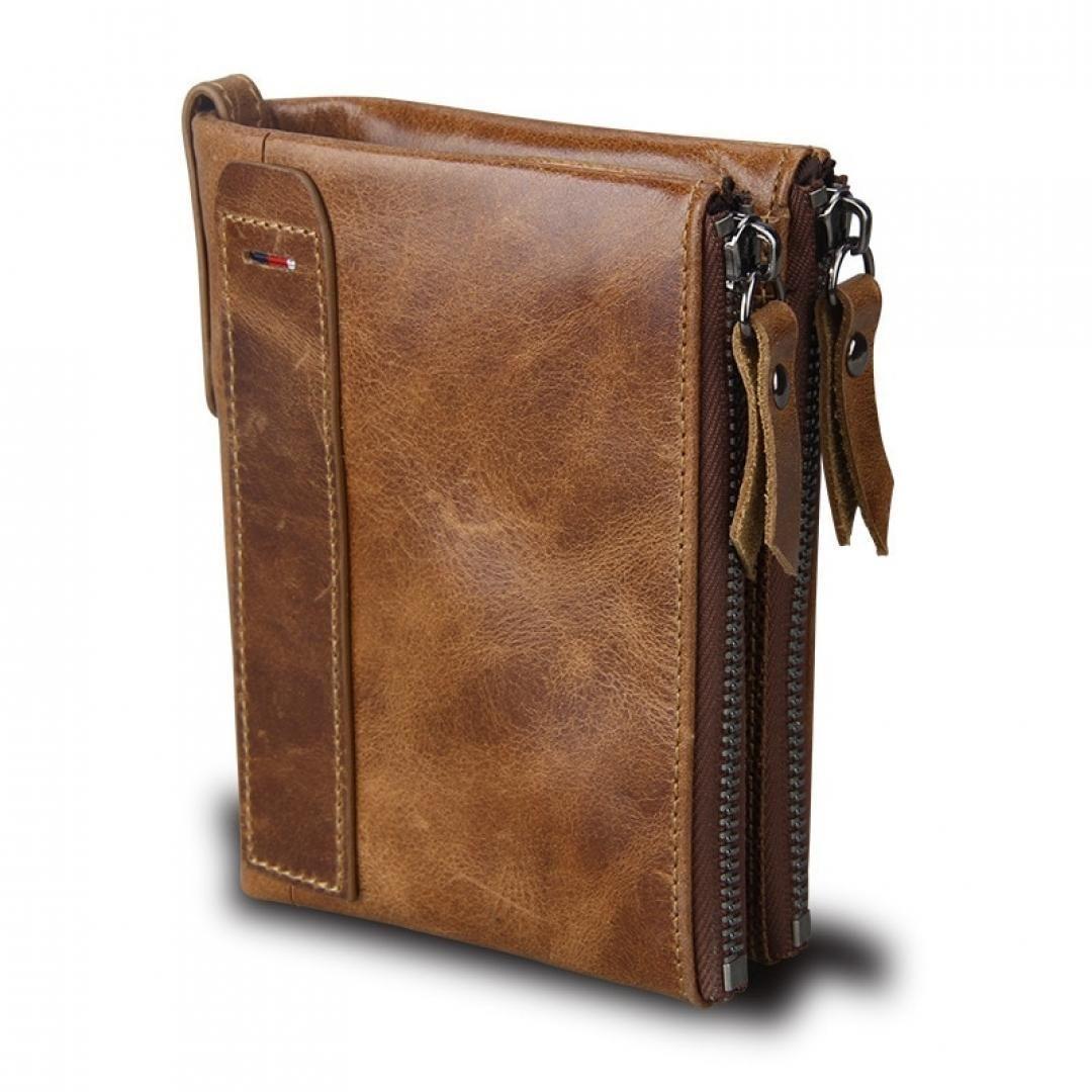 Wallets 2019 Fashion Gzcz Genuine Leather Men Wallet Short Coin Purse Zipper Poucht Vintage Card Holder Clamp For Money Brand Male Purse Portomonee Men's Bags