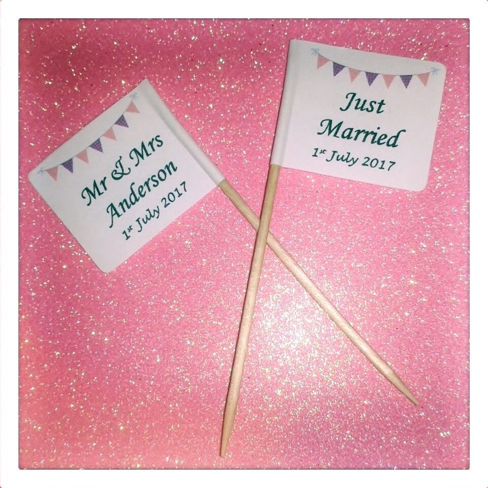25 Personalised Bunting Wedding Just Married Cupcake Flags Picks ...