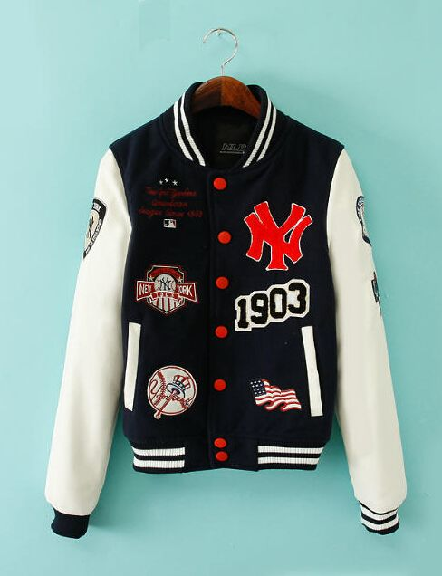 2014 Black White NY Yankees Embellished Wool Baseball Jacket Sale ...