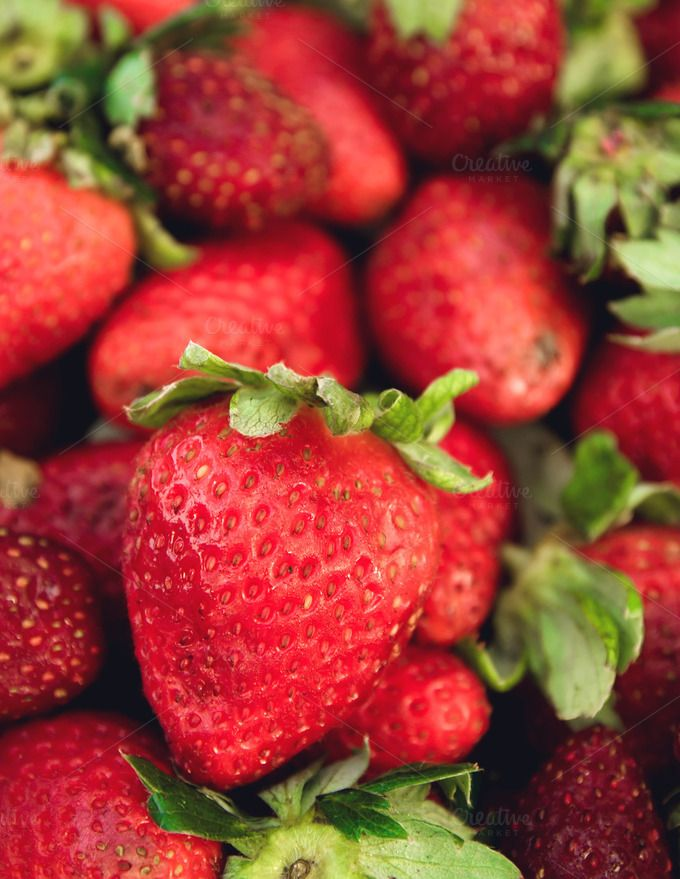 red fresh strawberry by Slonme on @creativemarket