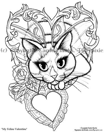 gothic fairies coloring pages   Coloring Page - My Feline Valentine ...