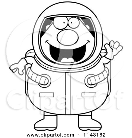 Cartoon Clipart Of A Black And White Chubby Astronaut Waving ...