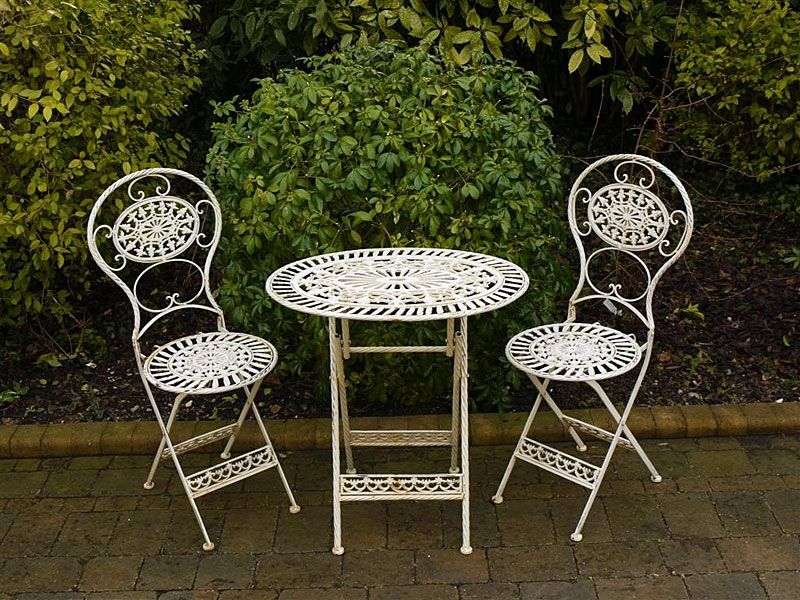outside table and 2 chairs. folding metal garden furniture 2 chairs oval table bistro set cream,green, black outside and