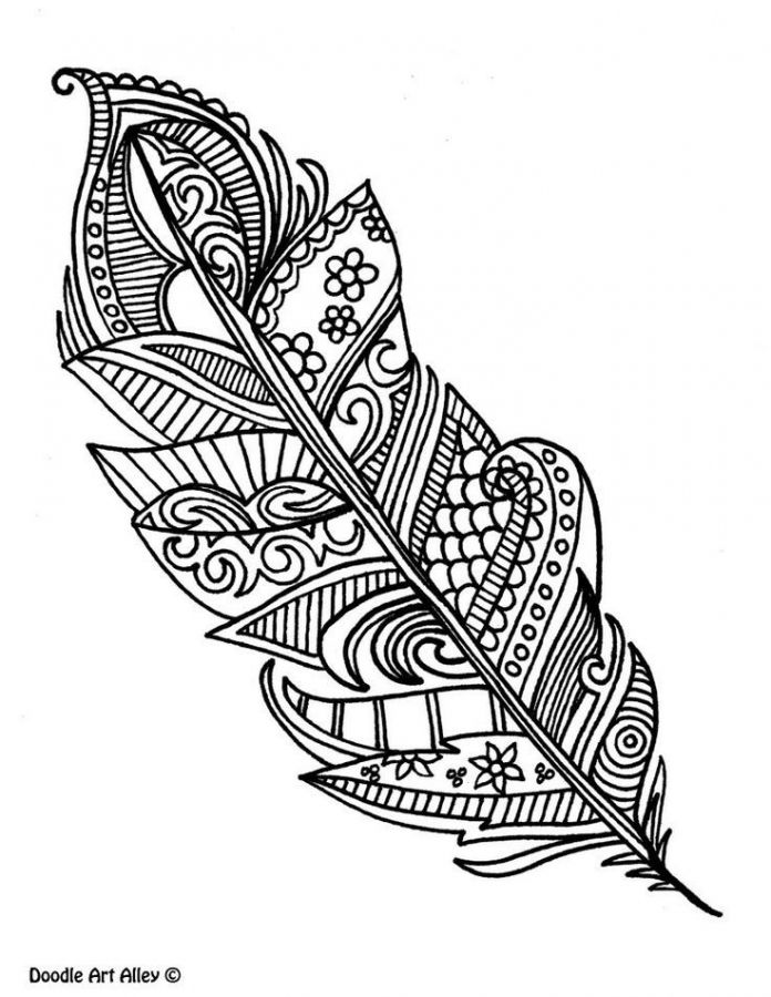 free printable feather coloring pages for adults colored pencils