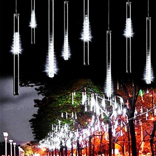 Warm White-2 30cm 8 Tube 144 LED Icicle Snow Fall String Cascading Fairy Lights for Party Holiday Waterproof LED Meteor Shower Lights Xmas Tree TOPIST Falling Rain Decoration Lights Garden