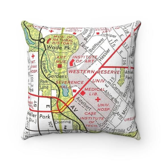 Case Western University Map Pillow Case Western University Wedding on