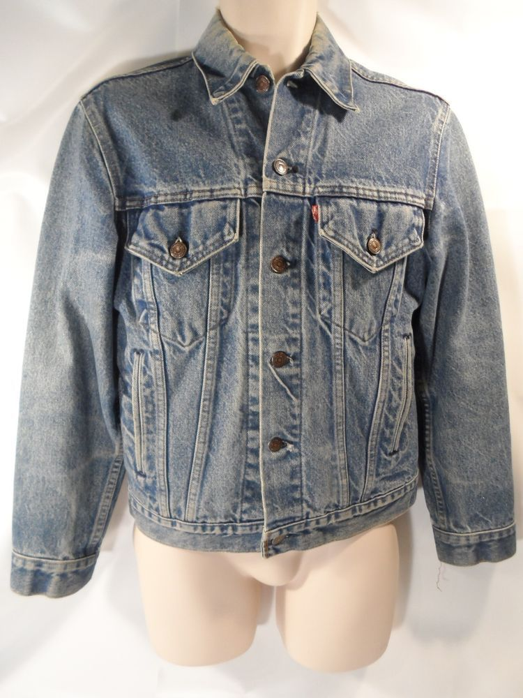Vintage 80s Levi Strauss Usa Jean Denim Jacket Blue Stonewashed Distressed Small Denim Jacket Usa Jeans Stone Wash