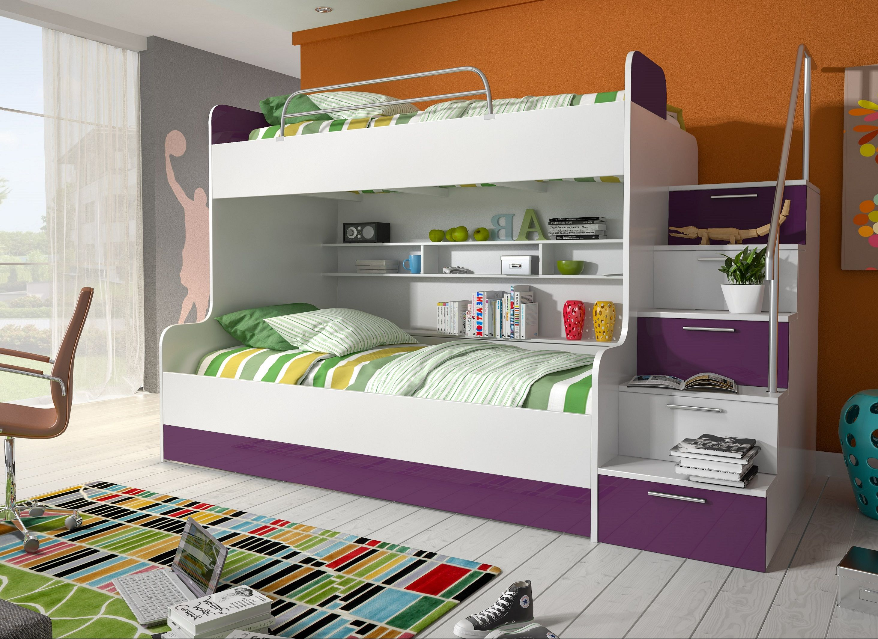 etagenbett kinderbett lila mit seitlicher treppe rechts. Black Bedroom Furniture Sets. Home Design Ideas