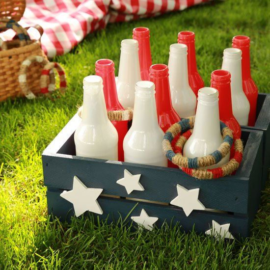 Craft a portable DIY bottle ring toss game for beachside outings, afternoons in the park, backyard gatherings, BBQ's and picnics!