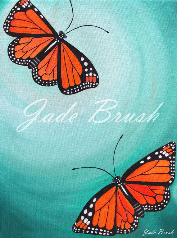 Oil Painting Print - Monarch Butterflies Flying in a Teal Sky by jadebrushArt on Etsy