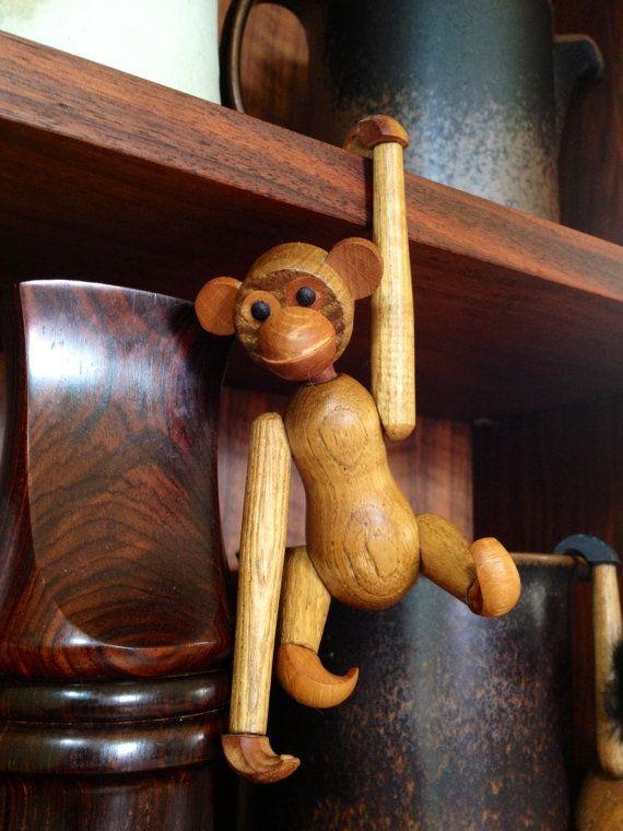 Zoo Line Vintage Mid Century Wood Monkey