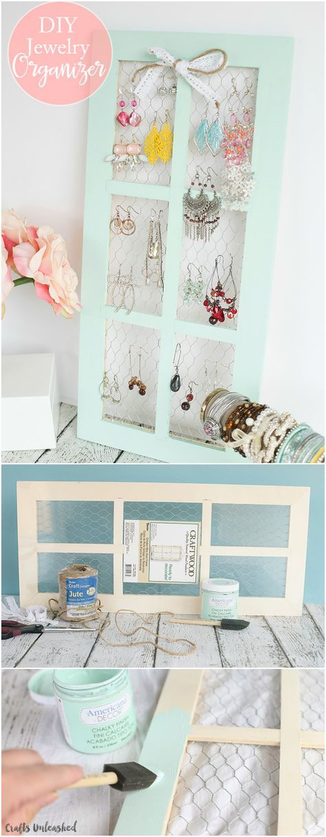 DIY Jewelry Holder with Chicken Wire Window Frame | Chicken wire ...