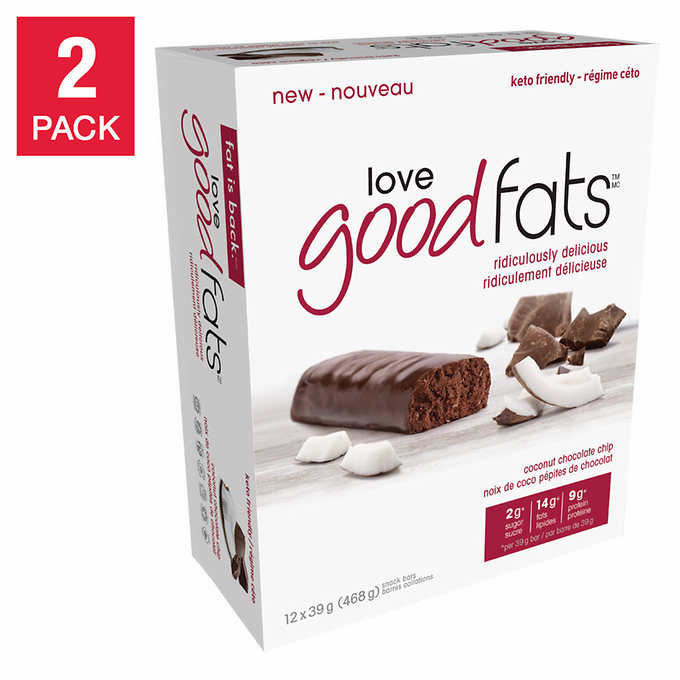 Love Good Fats Coconut Chocolate Chip Snack Bars, 2pack