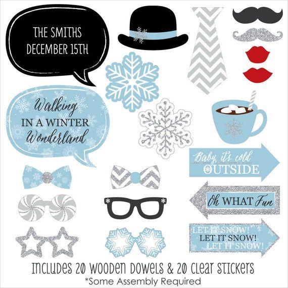 Winter Wonderland – Photo Booth Party Set mit Schnurrbart, Lippen und Sprechblase – Schneeflocken-Weihnachtsfeier & Winterhochzeit – 20 Karat   – Moms Wedding Dec 2019
