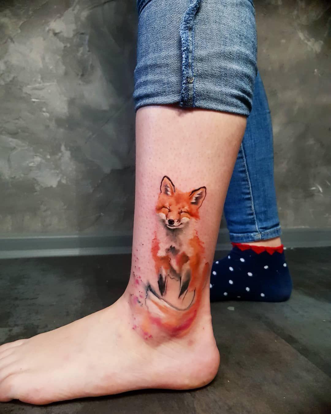 Simona Blanar Watercolor Fox Tattoo Watercolor Fox Tattoos Watercolor Fox Fox Tattoo