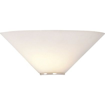 Mozart White Glass Uplighter Wall Light 141639 Homebase 163 9 99 Wall Lights Wall Ceiling Lights