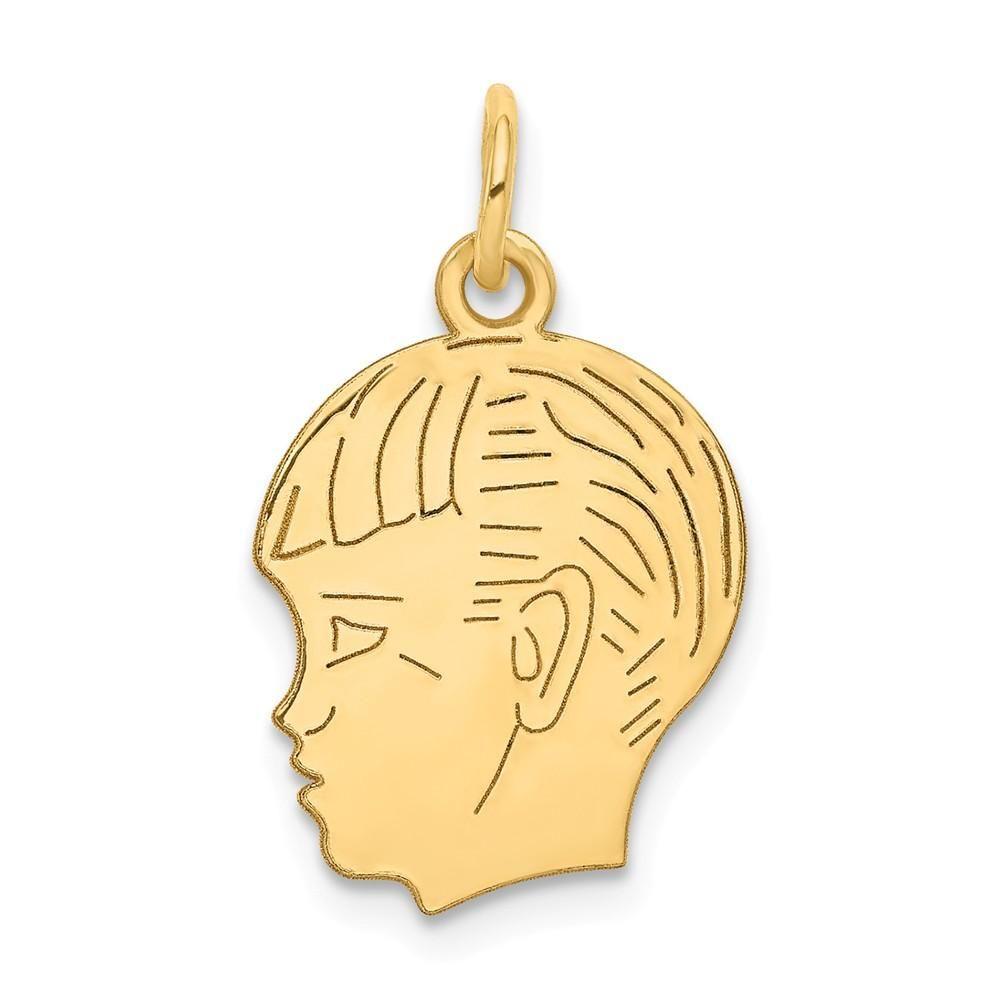 14k Yellow Gold Boy Head Charm Gold Yellow Pendants