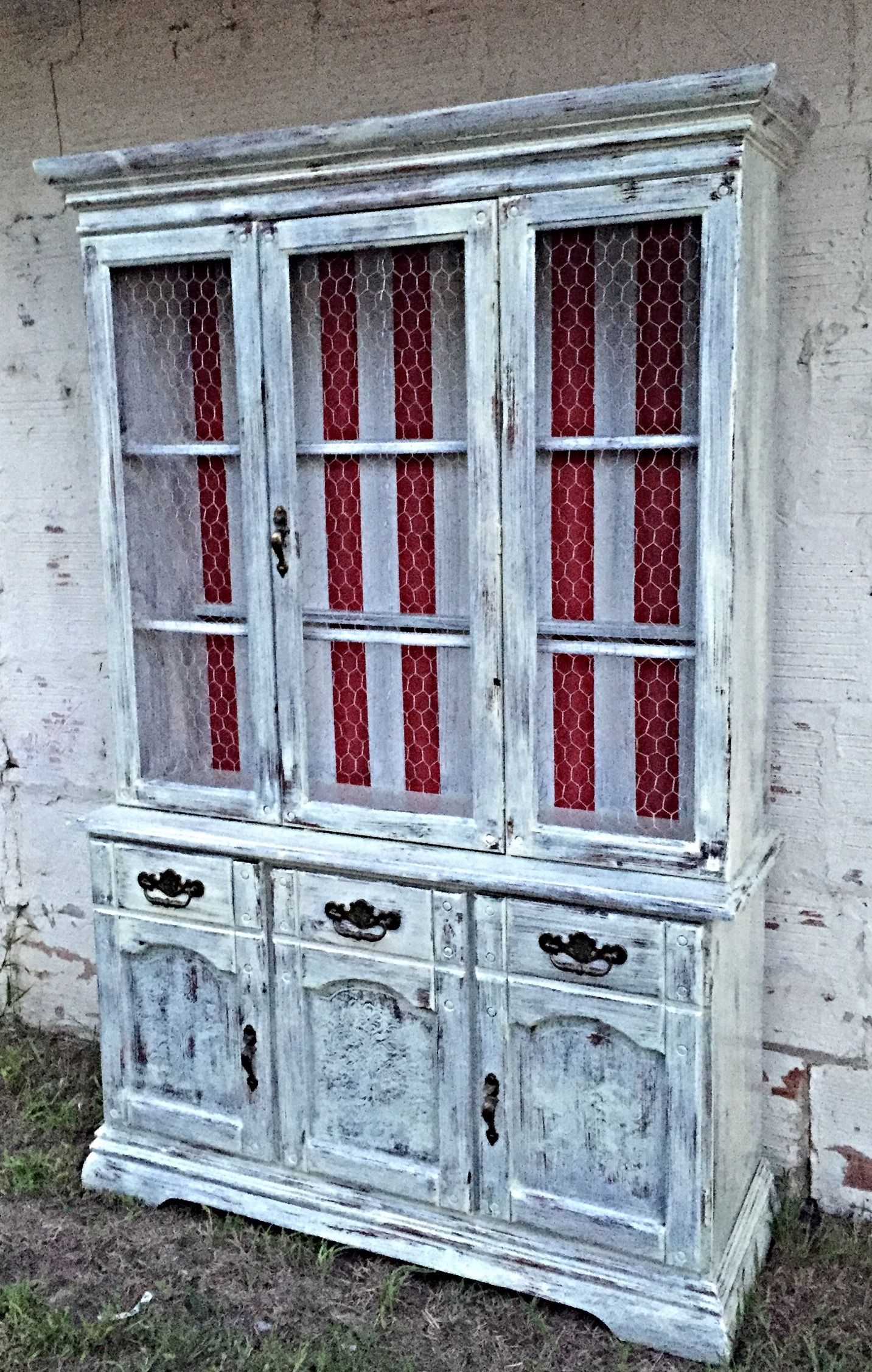 Farmhouse Hutch Antique White Heavy Distressed Chicken Wire Doors Rustic Red Striped Backer