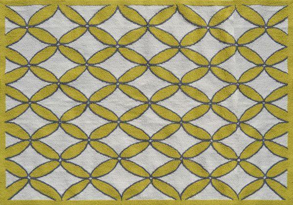 Fischer Hand-Hooked Yellow/Gray Area Rug