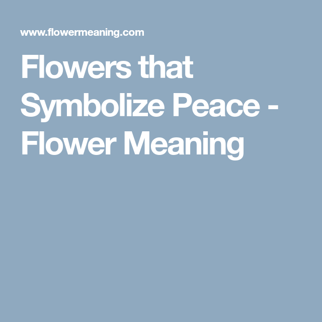 Flowers That Symbolize Peace Flower Meaning Tattoos Pinterest