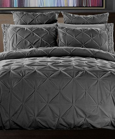 Loving This Charcoal Gray Handcrafted Pin Tuck Duvet Cover