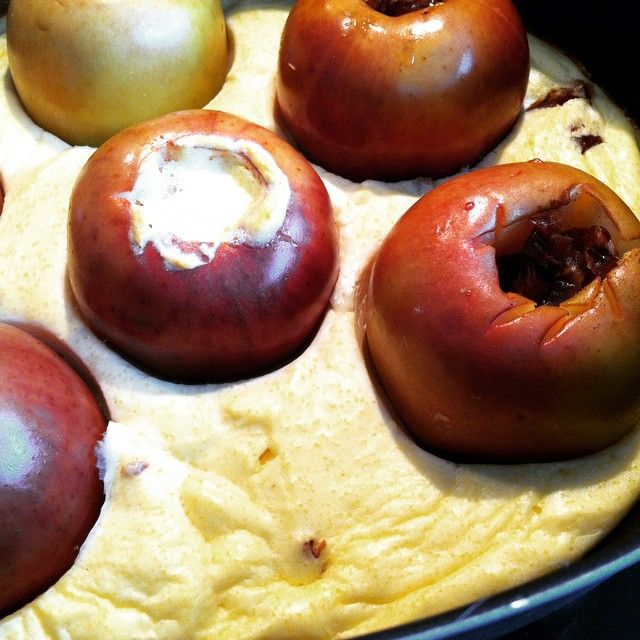 Quarkauflauf mit Bratäpfeln und Datteln