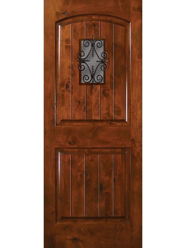 Square Top 2 Panel Arch Knotty Alder Entry Door 6 8 Tall With