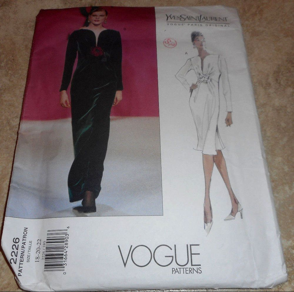 Vogue ysl yves saint laurent sz uncut lined dress below