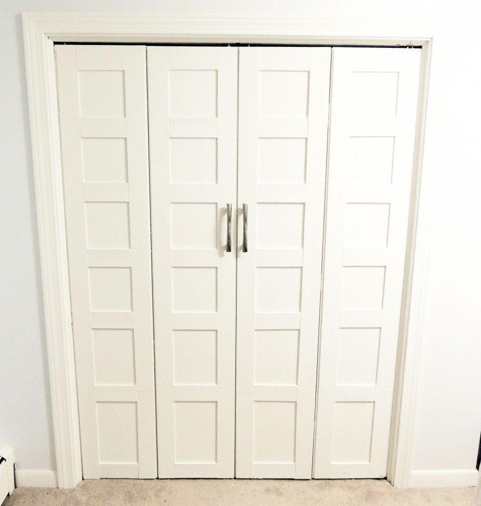 shaker bifold doors | My DIY 5 Panel Shaker-style bi-fold closet doors for  about $30 each ... | Home improvements | Pinterest | Closet door makeover,  Closet ...
