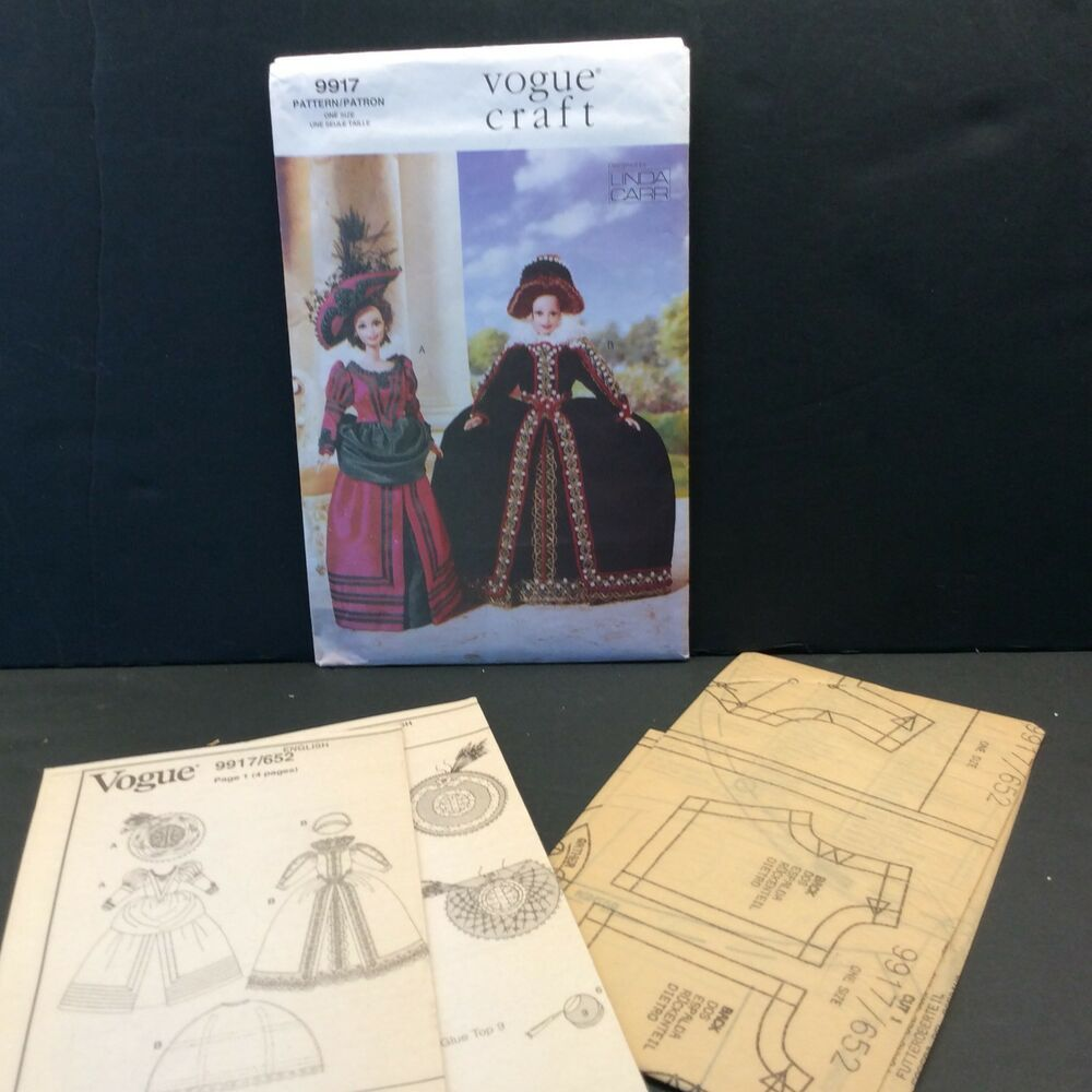 "Vogue Crafts 652/9917 sewing pattern. For 11.5"" fashion Dolls. Historical doll clothes, by Linda Carr. #historicaldollclothes"