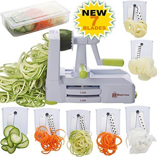 Brieftons 7Blade Spiralizer StrongestandHeaviest Duty Vegetable Spiral Slicer Best Ve