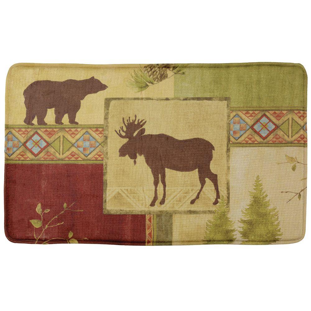 Moose Bath Rug: Mountain Lodge Moose & Bear Memory Foam Comfort Mat