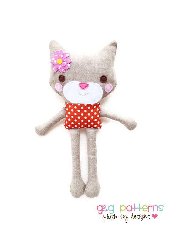 Patrón de costura del gato - Mini Toy Modelo del gato de peluche ...