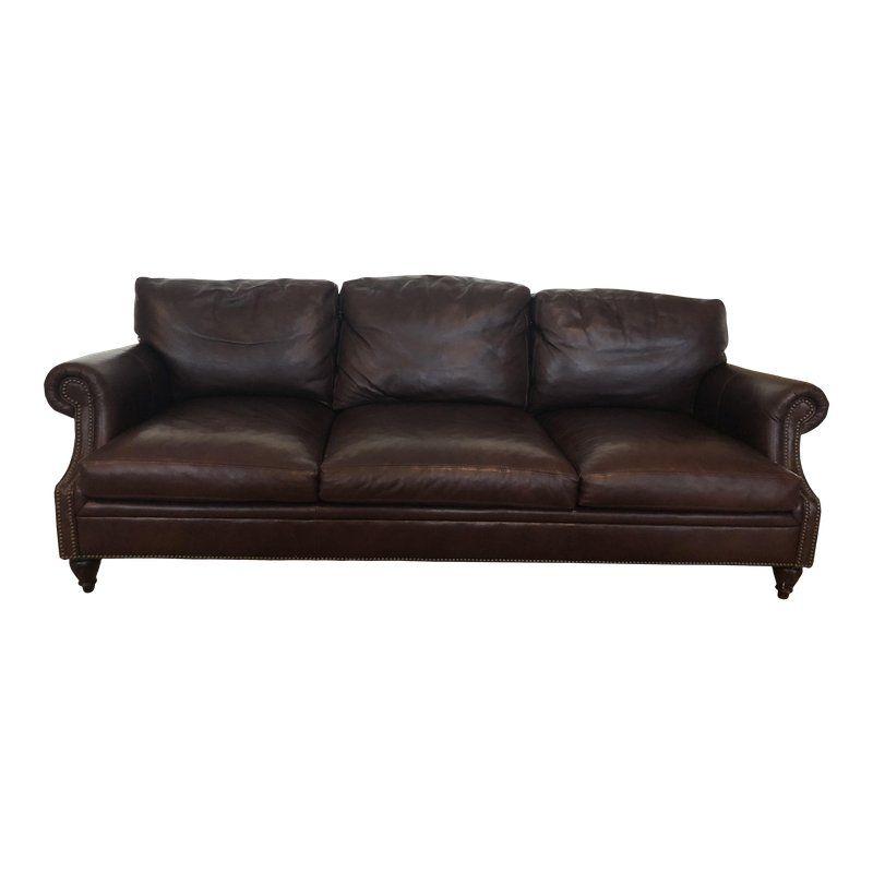 Modern Ralph Lauren Dark Brown Leather Sofa Brown Leather Sofa