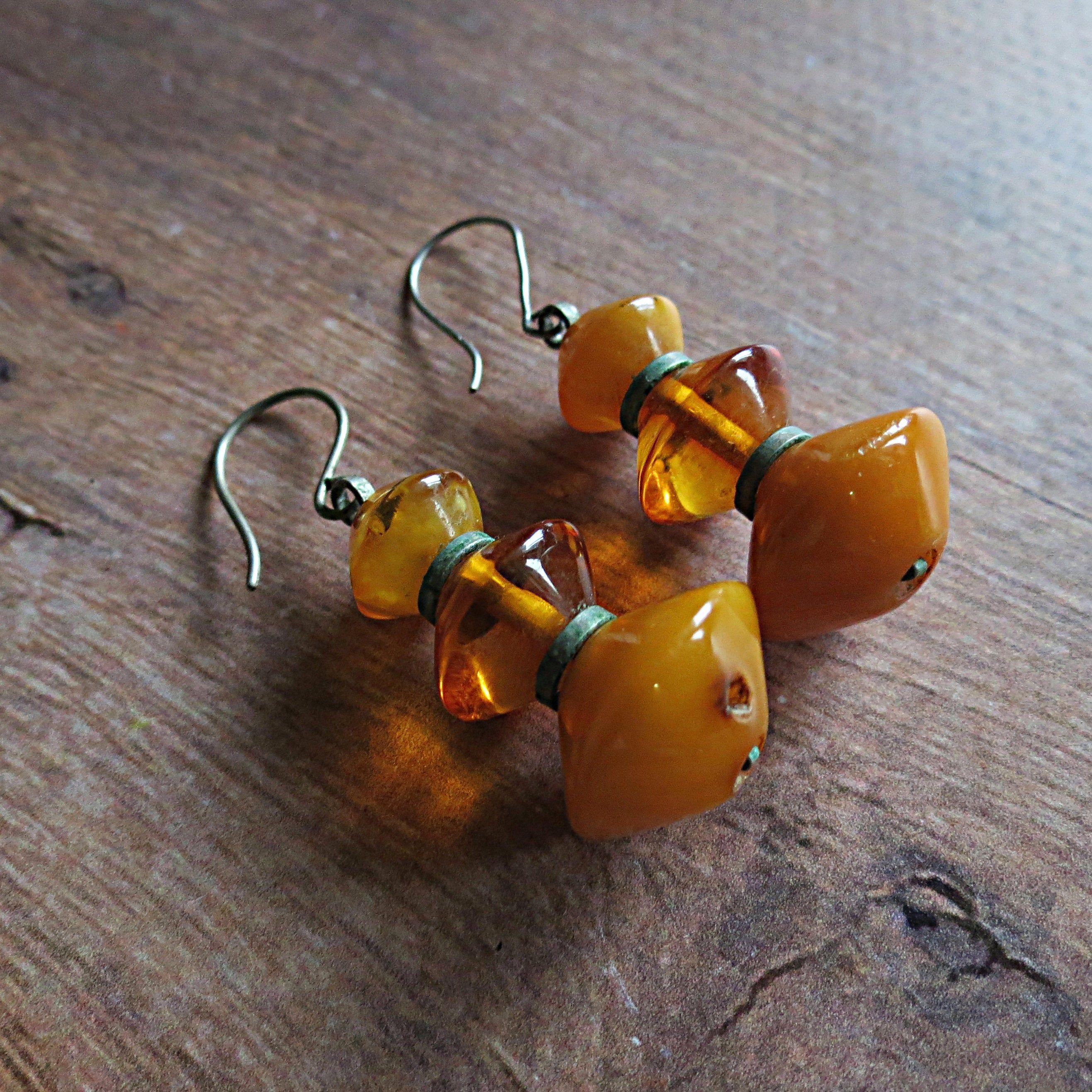Vintage amber earrings. Genuine baltic amber. Egg yolk, cognac amber. Antique amber earrings. Vintage 1960s. Amber jewelry 1960s. 6,08 gr.