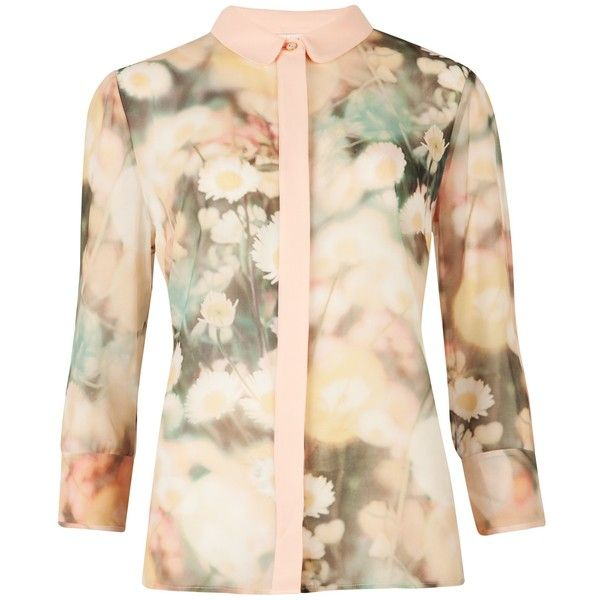 Ted Baker Daisy Print Shirt, Cream ($100) ❤ liked on Polyvore featuring tops, floral top, pink top, all-over print shirts, three quarter sleeve shirts and floral print shirt