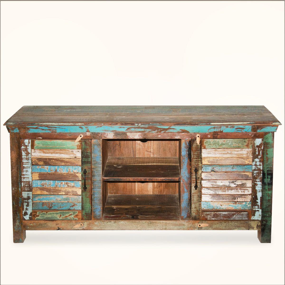 Alachian Rustic Shutter Doors Reclaimed Wood Tv Stand