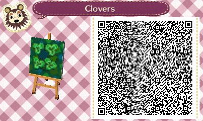 Animal Crossing: New Leaf QR Code Paths Pattern, tympaniac: Lucky Four Leaf Clovers QR code for...