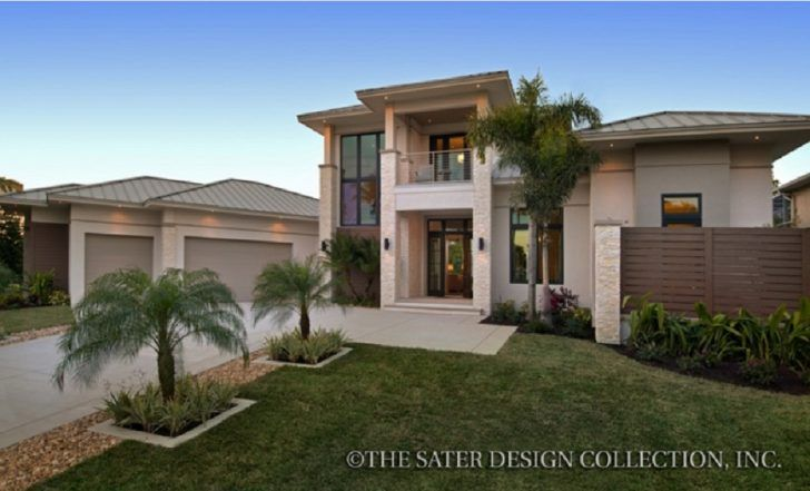 Contemporary modern 2 story mediterranean house plan 3507 sq ft features 3 bedrooms and 4 bathroomsalso 3 garage bay with coutryard style by sater design