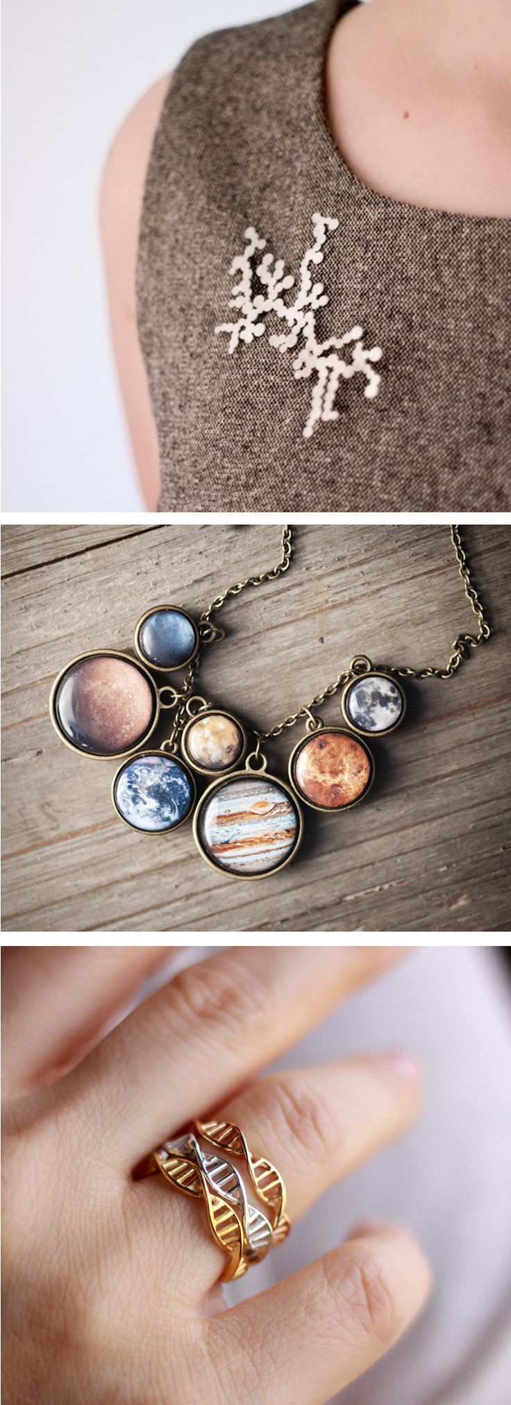Science accessories // gifts for science lovers // galaxy necklaces
