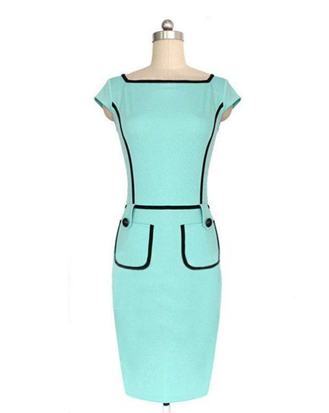 Vintage 1940s Color Block Swag Dress: $11.62 Stylish Women's Square Neck Short Sleeve Color