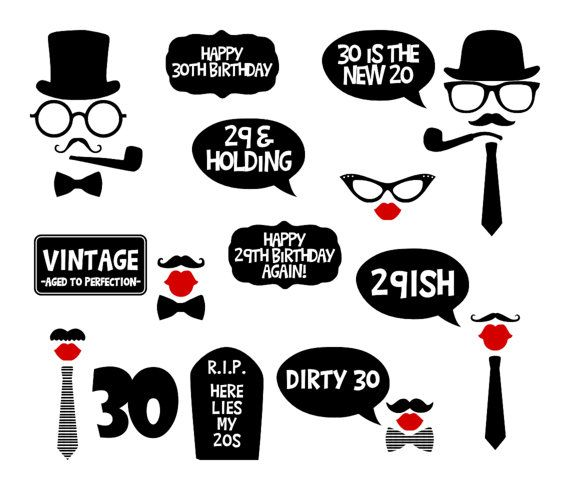 30th Birthday Party Printable Photo Booth By BCreativeDesignArts