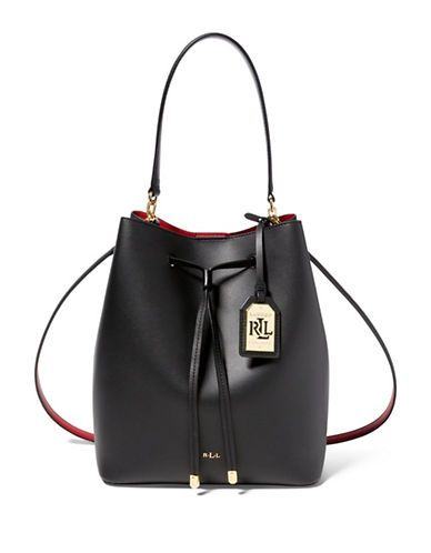 52075778c7 Lauren Ralph Lauren Dryden Medium Drawstring Leather Bag Women's Black