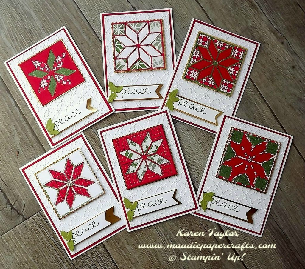 Stampin Up Christmas Quilt Christmas Cards Handmade Stamped Christmas Cards Patchwork Cards