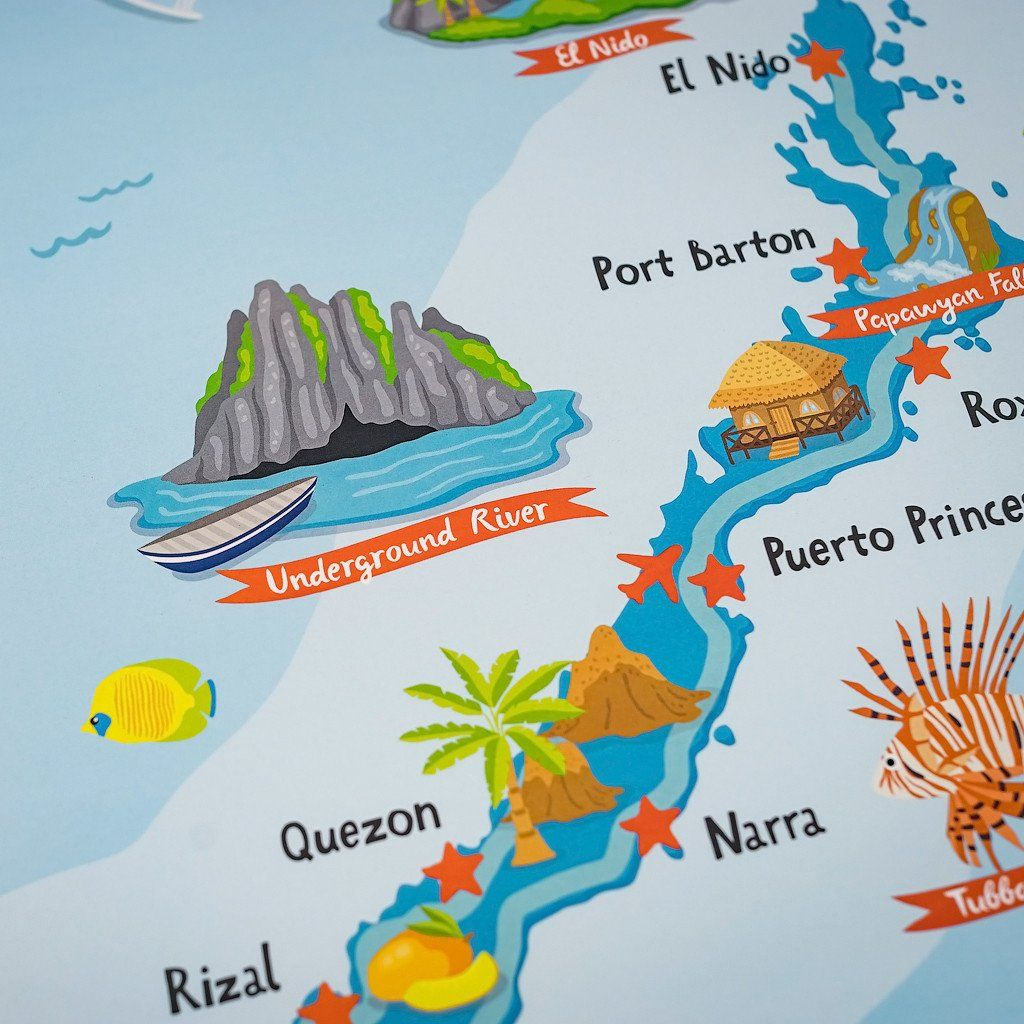 Palawan Illustrated Map Poster In 2020 Illustration Art