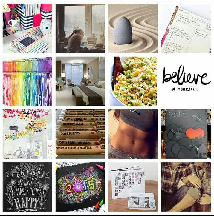 My Vision board 2015.  School/Minimalism/Structure/Creativity/Enjoy/Believe/Health/Love