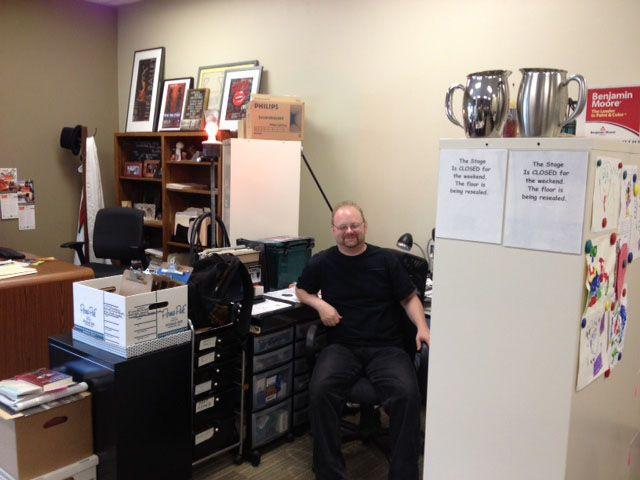 Jeff Macheel, Technical Director, in his temporary office at Union - technical director job description