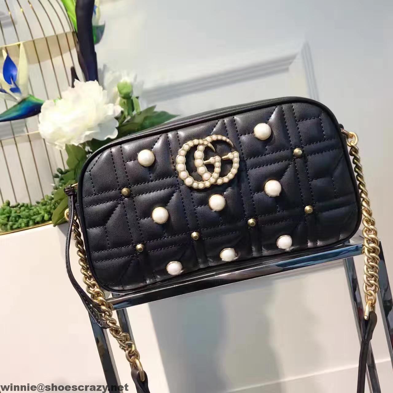 38c2554479f9a9 Gucci GG Marmont Matelassé Pearl Small Shoulder Bag 447632 | Gucci ...