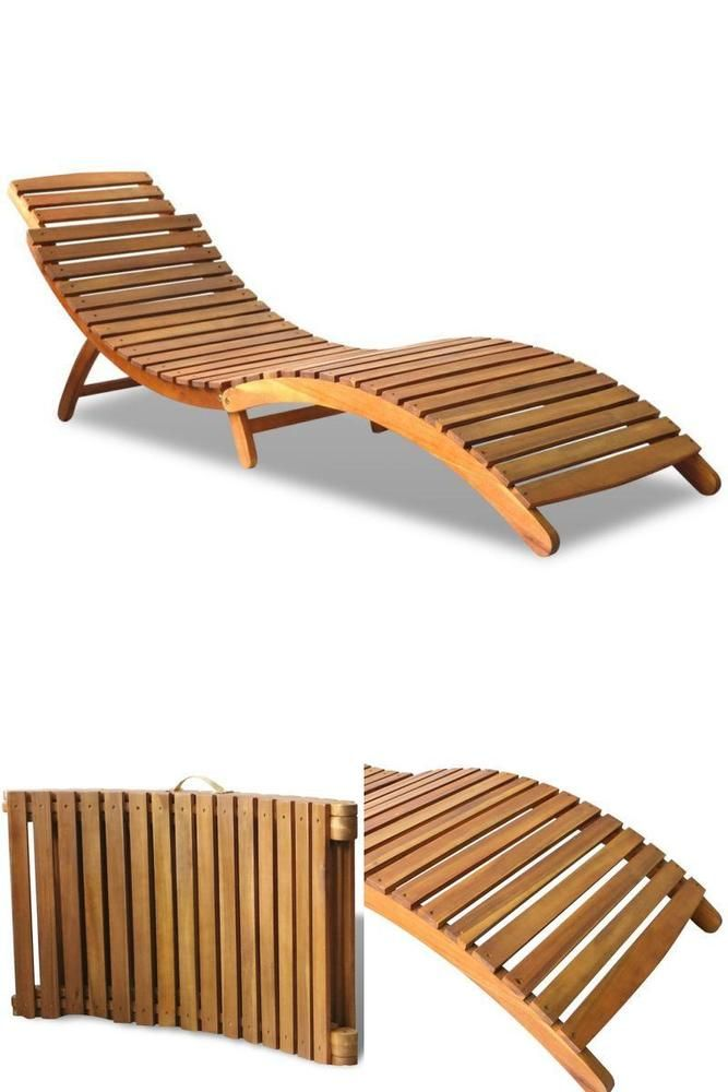 Wooden Outdoor Sunbed Patio Garden Hotel Pool Spa Portable Lounger