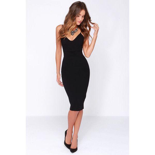 Lulus Exclusive Dont Tell Em Black Bodycon Midi Dress 54